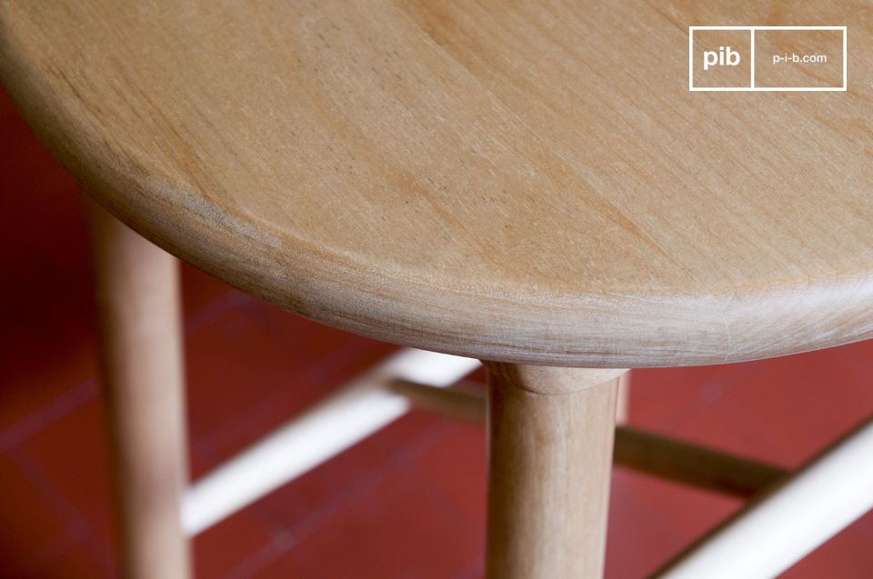 Made of birch wood, this Scandinavian style stool has a design that is both simple and original