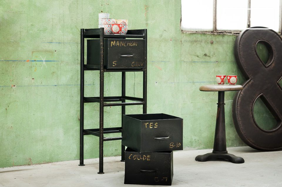 A piece of storage furniture with industrial vintage style