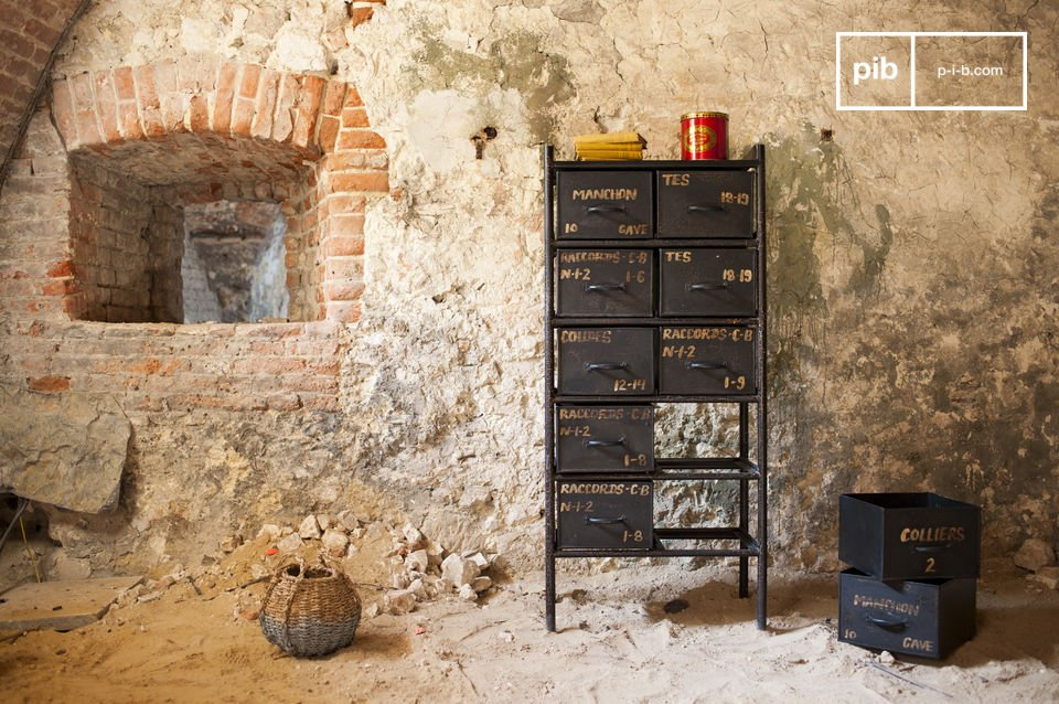 This storage furniture is made out of robust steel with a dark grey finish