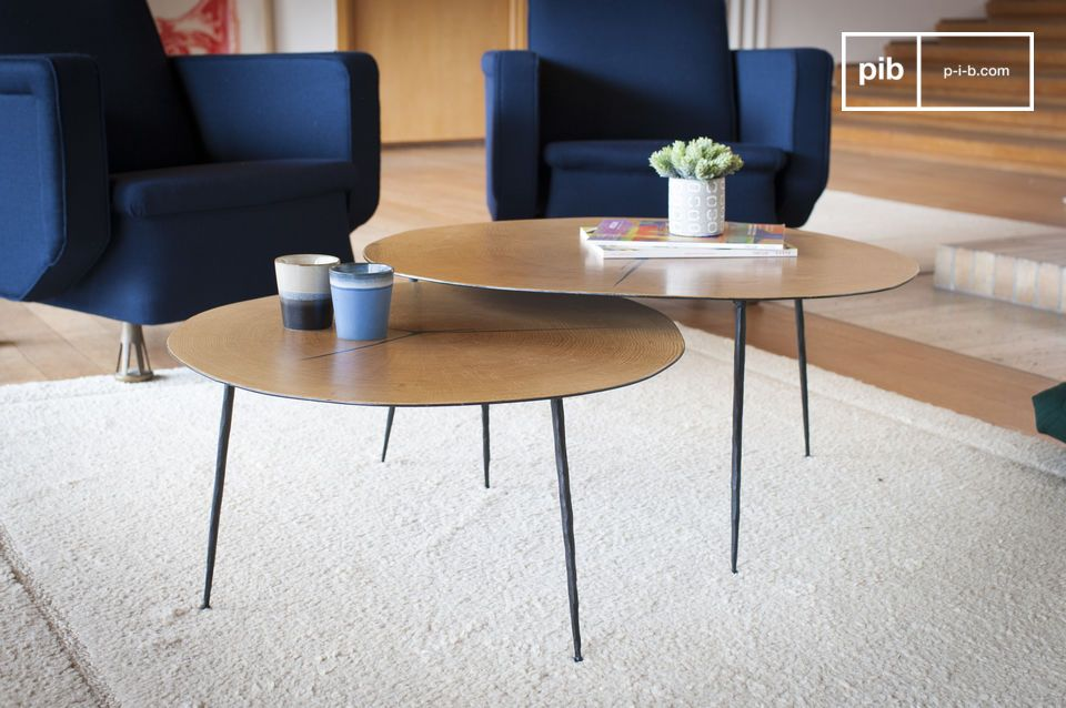 The finesse of a metal coffee table enhanced by a wooden covering
